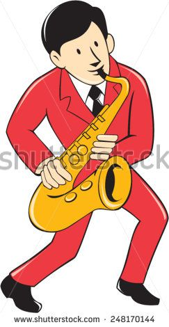 Illustration of a musician playing saxophone viewed from front on isolated white background done in cartoon style.