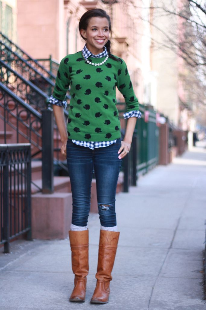 casual, modest outfit with jeans, boots, gingham top, and green sweater