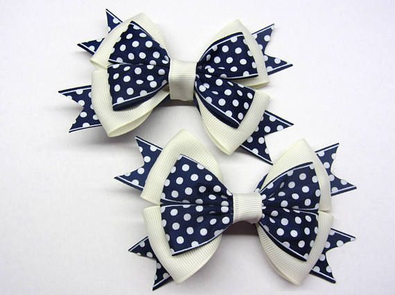 Polka dots hairbows Blue polka dot Blue white bow Beige hair