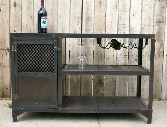Industrial metal and reclaimed industrial wood table, wine/liquor cabinet,  vintage mini bar, urban kitchen cart - Best 20+ Industrial Liquor Glasses Ideas On Pinterest Industrial