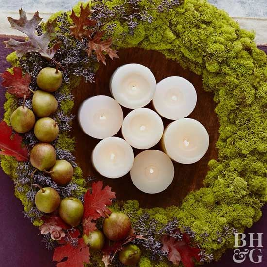 Create this stunning holiday wreath that you can leave out fall through winter. The wreath is even pretty as a table centerpiece.