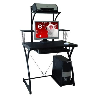 Raynier puter Desk with Printer Stand Black