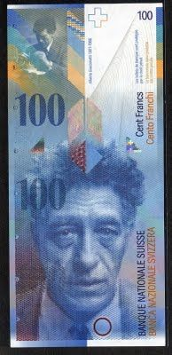 Switzerland currency 100 Swiss francs banknote of 1998, Alberto Giacometti…