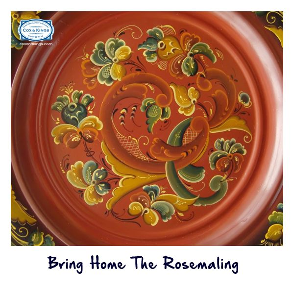 Norway is famous for the Rosemaling, a traditional painting style that is displayed on wall art, cutlery, home décor items & more. Unique to the country, these folk art paintings make for the perfect souvenir.  #ExploreFourCorners