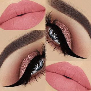 Pink and brown , with dramatic winged eyeliner with light pink lip/ follow me at Saraiexquisite