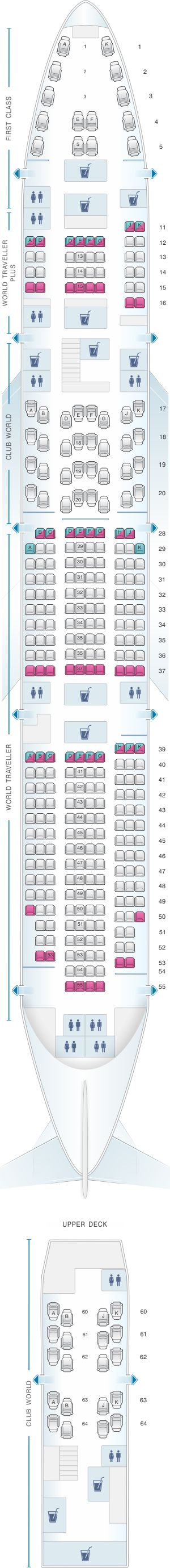 Seat Map British Airways Boeing B747 400 345PAX