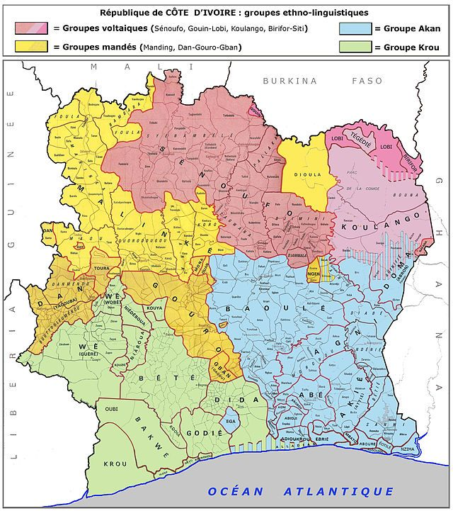Principaux groupes linguistiques de la Côte d'Ivoire. ◆Côte d'Ivoire — Wikipédia https://fr.wikipedia.org/wiki/C%C3%B4te_d%27Ivoire #Ivory_Coast #Cote_d_Ivoire