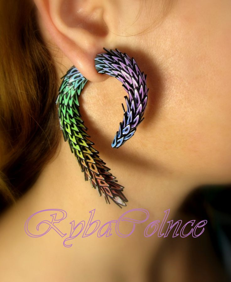 Fake ear gauge  The Dragon tail - Faux gauge/Gauge earrings/plug /spiral gauge/ fake piercing by RybaColnce on Etsy