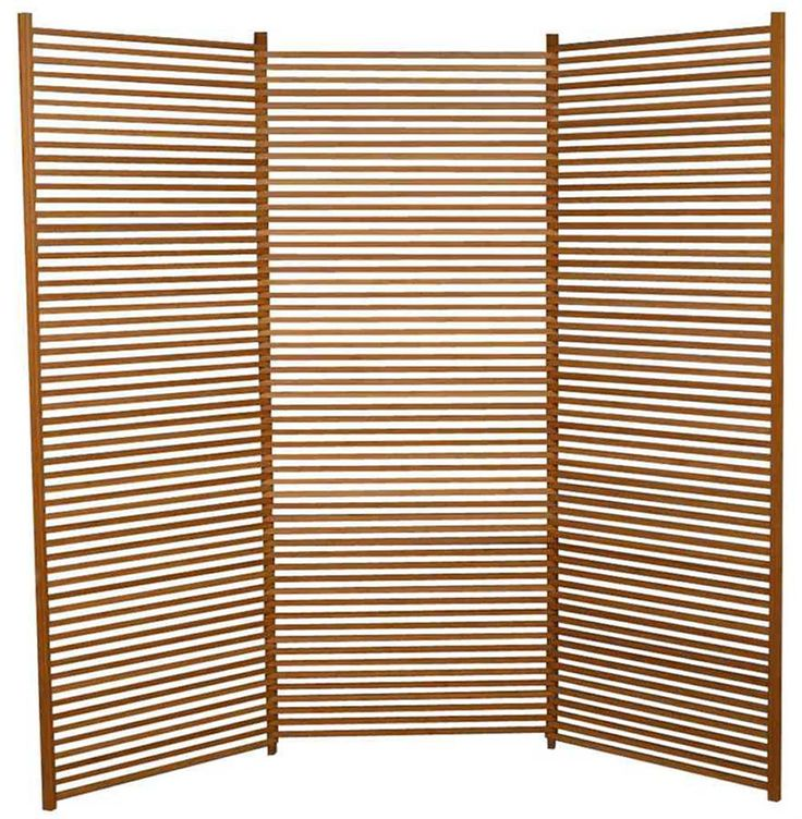 lilac trifold divider screen in solid bamboo slats w caramelized