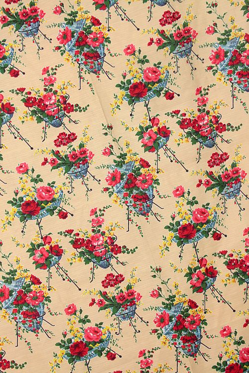 60s Floral Baskets Fabric Textile Backgrounds And Frames In Magnificent 1950s Patterns