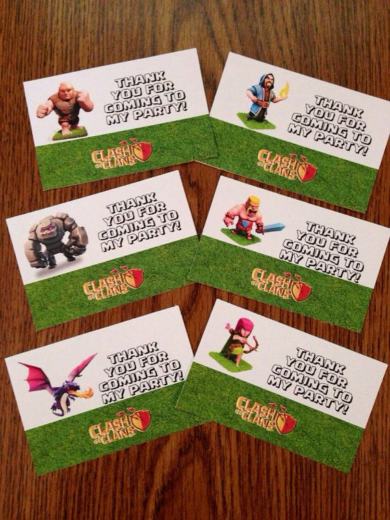 Clash of Clans Party Thank You Favor Bag Topper Labels (Giant, Barbarian, Wizard, Archer, Dragon and Golem)