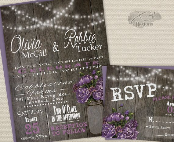 DIY Printable Rustic Wedding Invitation Suite - Summer Barn Wedding Invite w/ String Lights, Mason Jar & Purple Peonies - Digital or Printed by X3designs