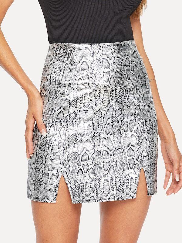 f694c5bcb4 Snakeskin Print Slit Hem Skirt -SHEIN(SHEINSIDE)   II FASHION ...