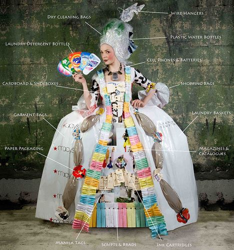 Costume made from empty bottles, old batteries, plastic bags, wire hangers, magazines and cardboard by The Sustainable Sirens