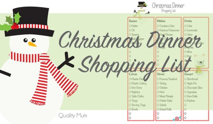 Blogmas - Christmas Dinner Shopping List - Quality Mum