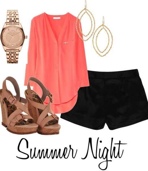 How amazing is this coral top?! Love the whole Polyvore outfit - especially the brown wedges. Can't wait for Summer Nights!
