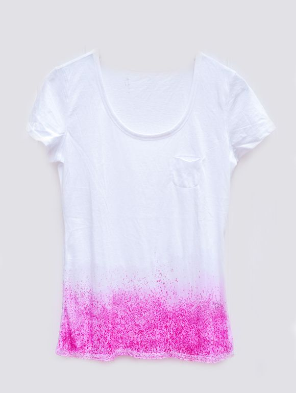 DIY speckled dip dye shirt.
