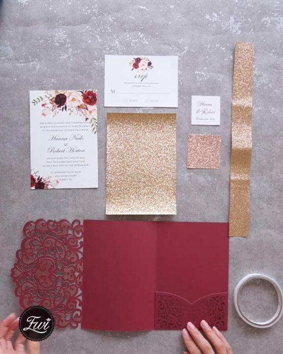 Erschwingliche Hochzeits- und Hochzeitseinladungen in Rot und Burgund von EWI – #Billig #Burgund