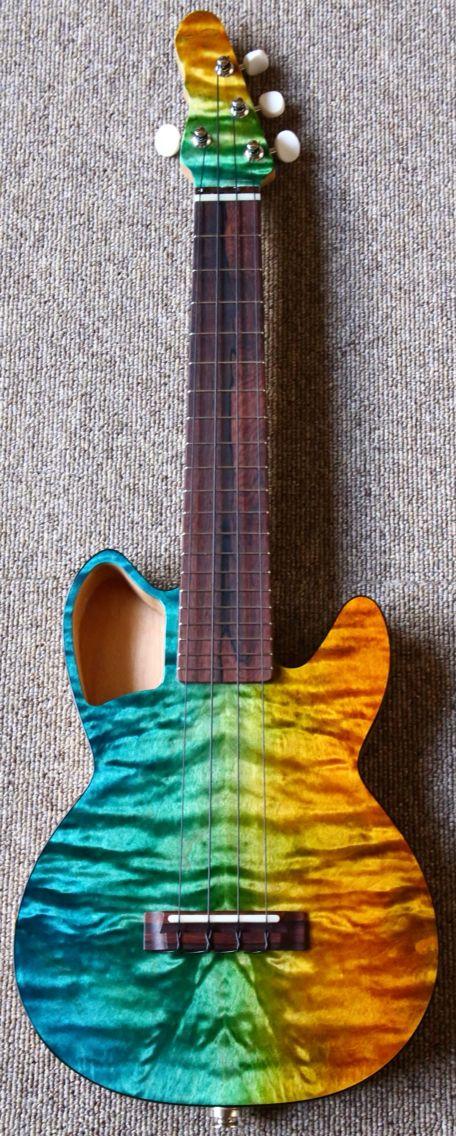 Blue Strings CEH #LardysUkuleleOfTheDay #Ukulele ~ https://www.pinterest.com/lardyfatboy/lardys-ukulele-of-the-day/ ~ love the finish