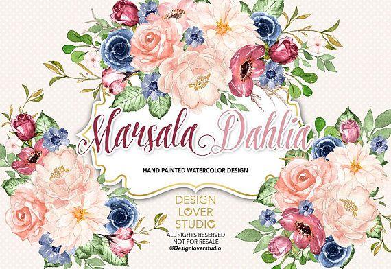 Watercolor Marsala Navy Blue Dahlia Design Spring Watercolor