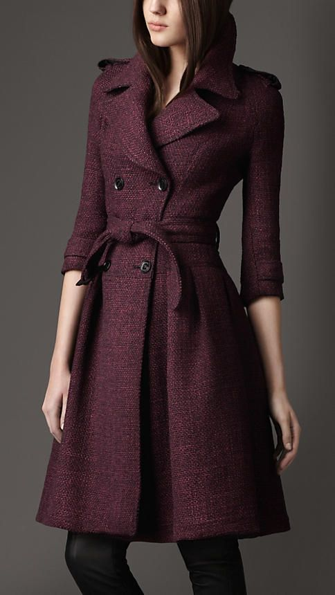 Full skirted tweed coat from Burberry! I'm really feeling tweed for this winter, and I love dark purple. Let me help u find similar items like this on my new fashion channel! https://www.youtube.com/watch?v=XSiQP5OFjXE&list=UUCP8TXebOqQ_n_ouQfAfuXw
