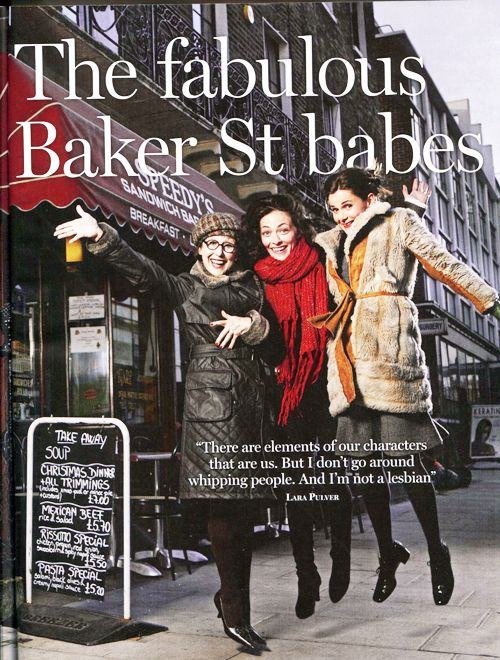 """Sherlock""'s Women (how adorable is this?).  L-R: Una Stubbs (Mrs. Hudson), Lara Pulver (Irene Adler), and Louise Brealey (Molly Hooper)."