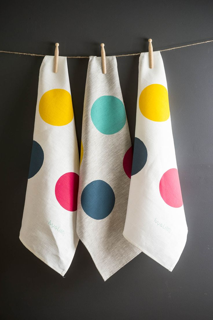 linen tea towels with brightly coloured spots by Ivy & Lil