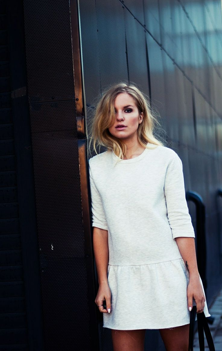 Simple white dress with drop waist  #minimalist #fashion