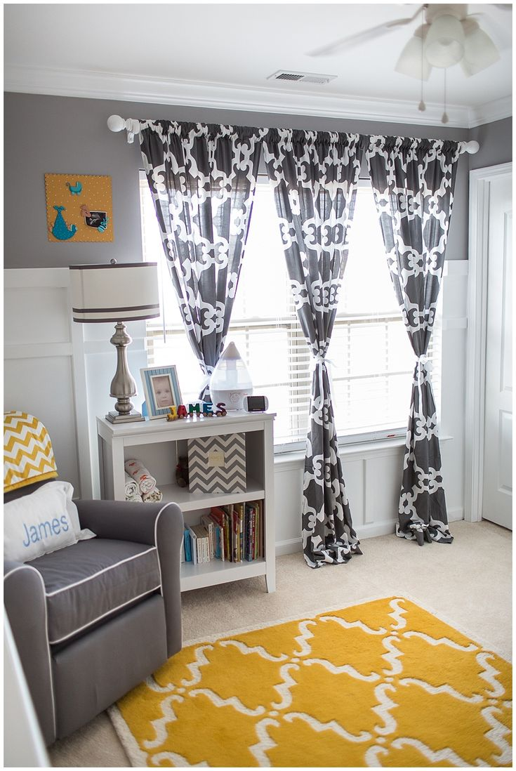 Yellow and gray nursery curtains - Gray And Yellow Preppy Nursery Patterned Curtains