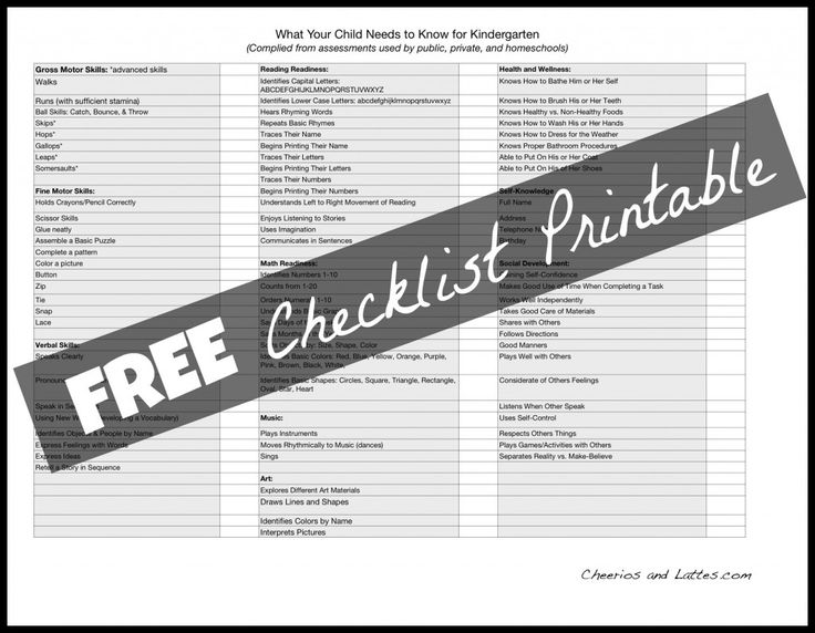 What My Child Needs to Know for Kindergarten! {Free Checklist Printable} from Cheerios & Lattes