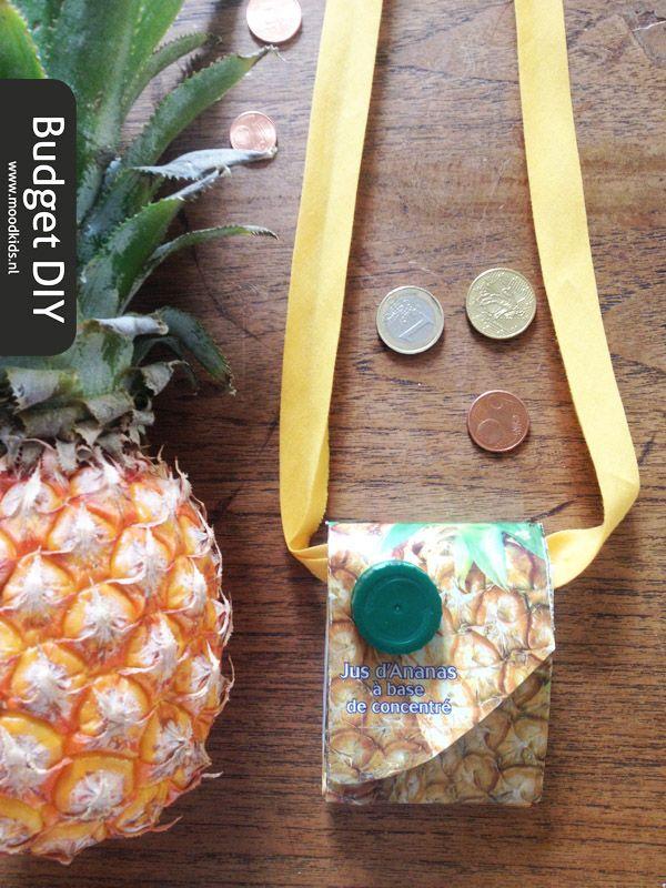 Zomervakantie - DIY budget festival tasje maken - Recycling sap pak - Moodkids