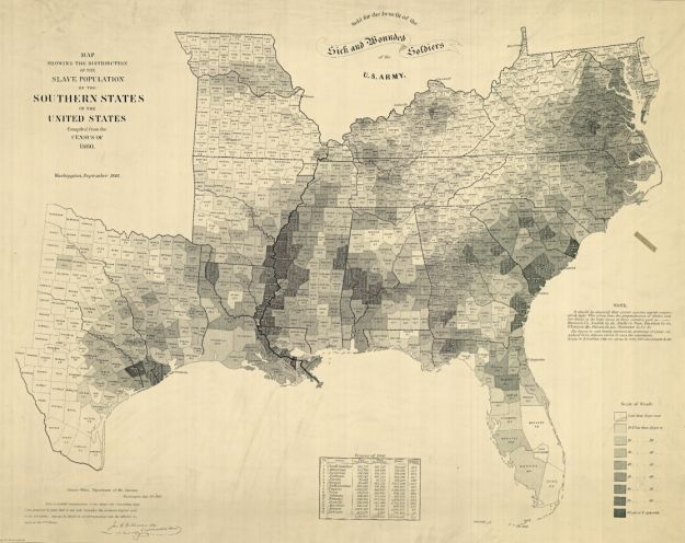 Map of slave population in southern states, compiled from 1860 census, drawn by Edwin Hergesheimer, engraved by Theodore Leonhardt, 1864