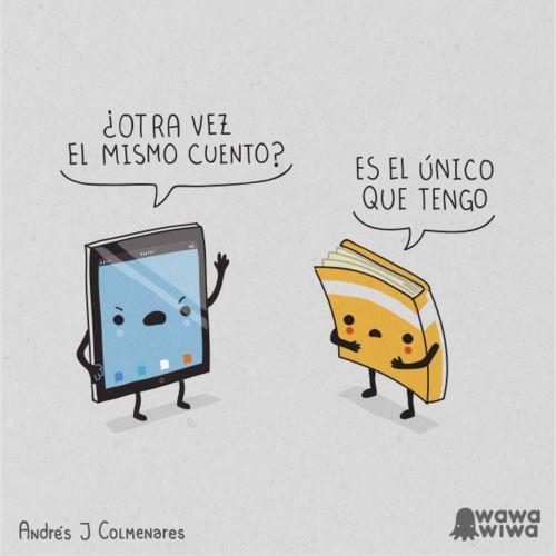 """Dos grandes viñetas de Andrés Colmenares que reflejan los """"problemas de los libros"""" en la sociedad de hoy."""