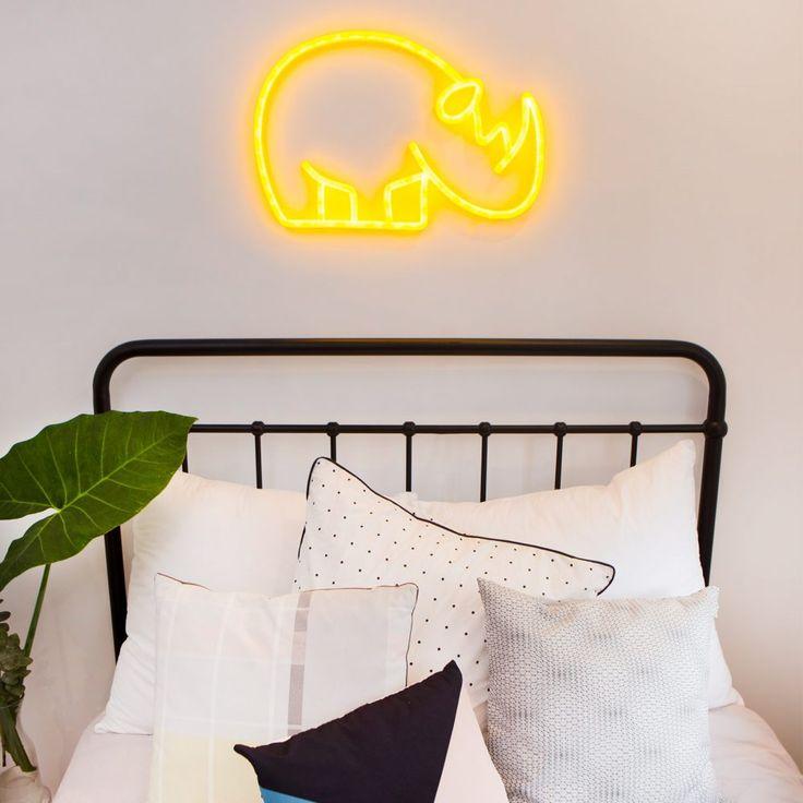 rhino nursery night light jungle africa sign neon