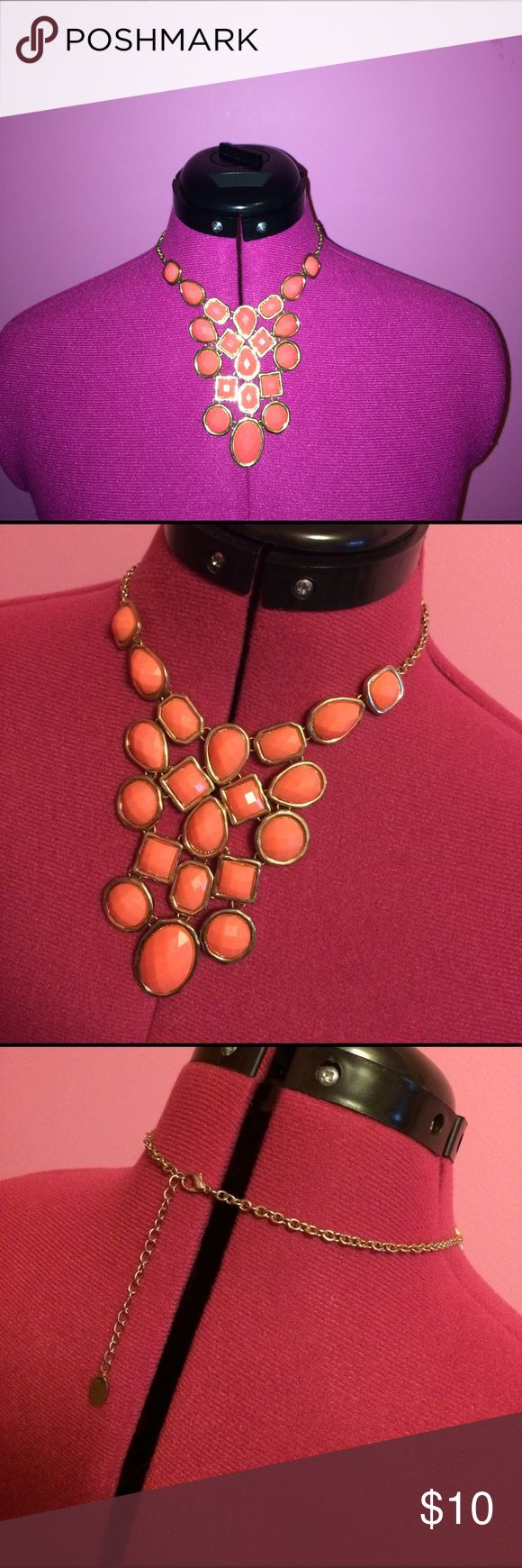 Coral & Gold Bubbly Necklace This coral & gold necklace is so girly and cute for spring!  Would look great with a pretty blouse or a button up.  Can be dressed up or down.  Brand is unknown, I've had this piece for a long time.  The length is adjustable, can be worn as a choker or a longer necklace. Jewelry Necklaces