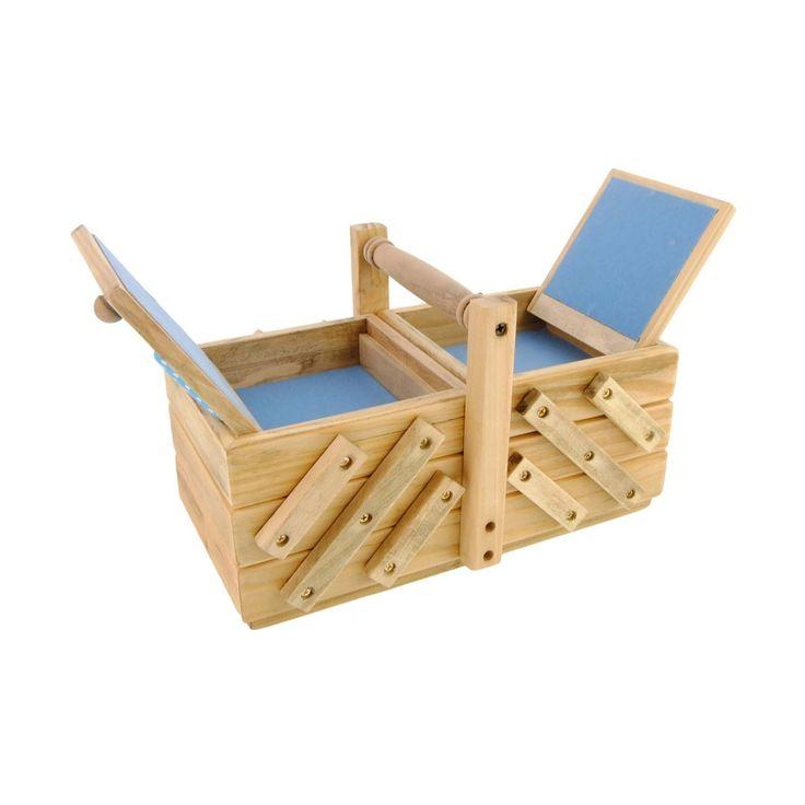 Costurero pequeño madera y tejido azul - Paula Alonso - Tienda online