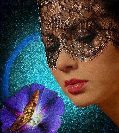 faccia animazione della ragazza parzialmente chiuso velo nero trasparente, di fronte a un fiore blu, su cui si siede e onde ali di farfalla, volto parzialmente chiusa velo nero traslucido di SIFCO ragazza, di fronte a un fiore blu, sul quale si trova una farfalla agitando le ali