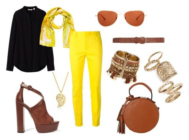 """Yellow pants"" by natashausa on Polyvore featuring мода, Uniqlo, Emilio Pucci, Aquazzura, Dsquared2, Dorothy Perkins, Oliver Peoples, Sonal Bhaskaran и Topshop"