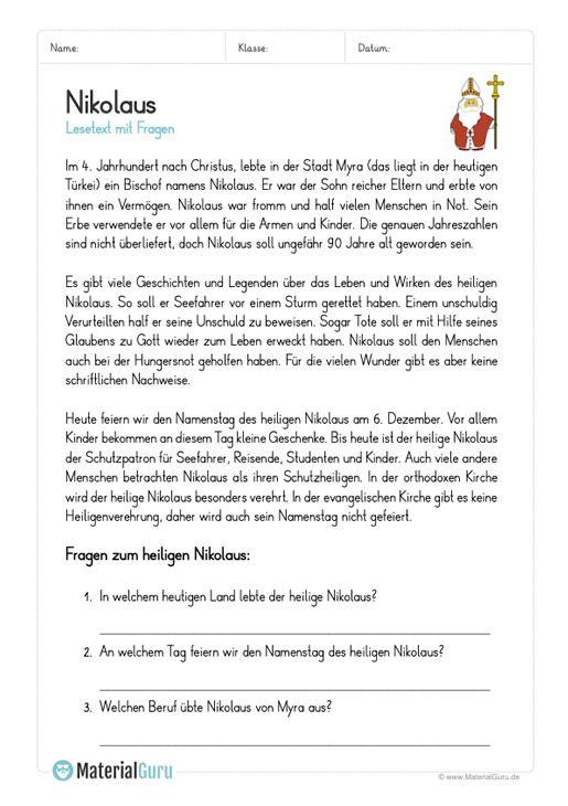 Kostenlose Arbeitsblätter Und übungen Rund Um Nikolaus Für Den