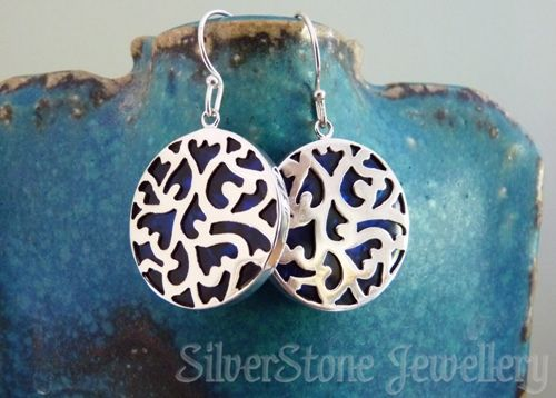 blue dyed paua earrings with Filigree carving