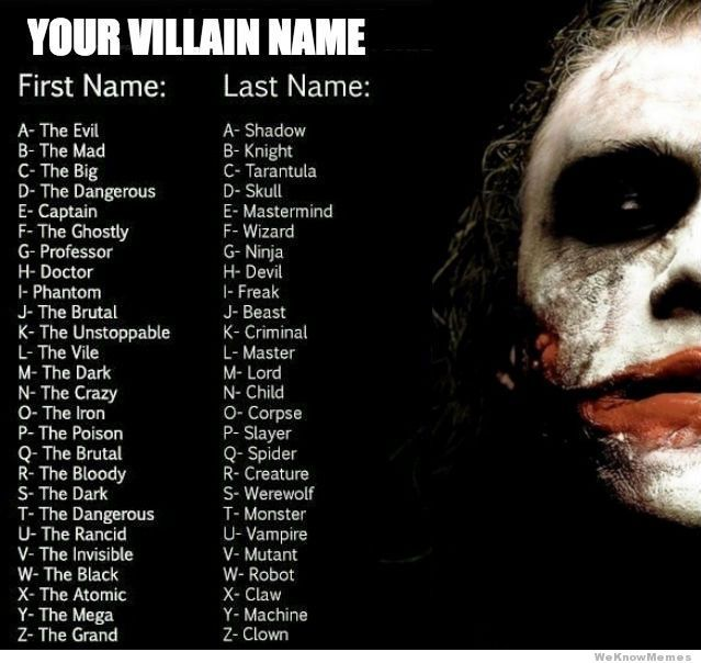 What's your villain name?  BW - I am THE MAD ROBOT!!!!!! Muhahahah...wait, that doesn't sound scary!  This is a horrible name game - I protest!  I should be like...THE MAD INTELLECTUAL FIRE BREATHER or something a bit more scary...the mad robot...sheesh!