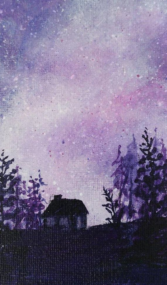 Acrylic Painting Night Time Landscape Night And Stars Purple Painting Pine Tree Forest With Cottage Glowing Starry Sky Art Original Purple Painting Sky Art Night Painting