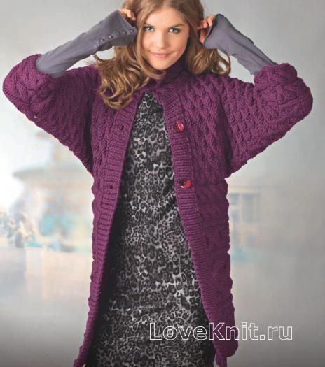 Схема спицами удлиненный пуловер с рукавом летучая мышь