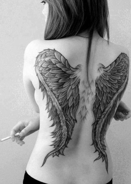 30 Angel Tattoos Designs: Angel Wings Tattoo on Back