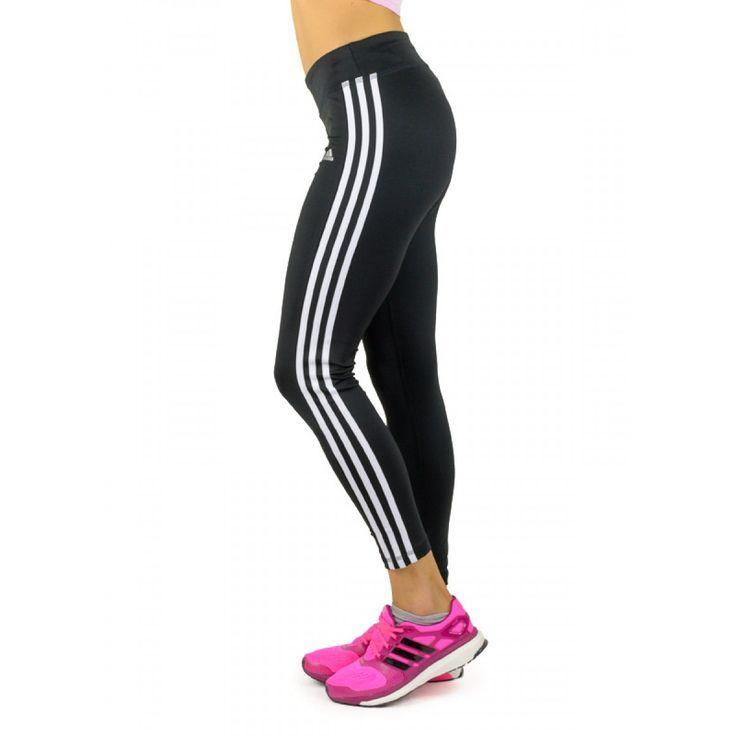 Adidas ασπρόμαυρο αθλητικό γυναικείο κολάν με ρίγες