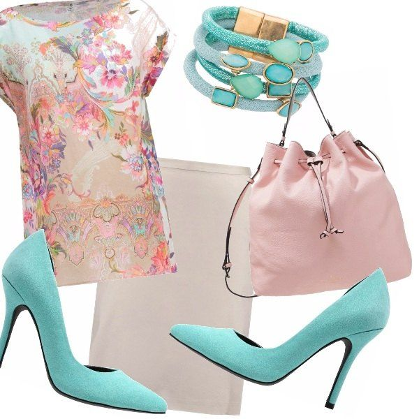 Per una donna che ama i colori pastello, lo stile, ma anche i gioielli che richiamano il colore turchese del mare. Secchiello rosa quartz, blusa delicata su gonna a tubino chiara.