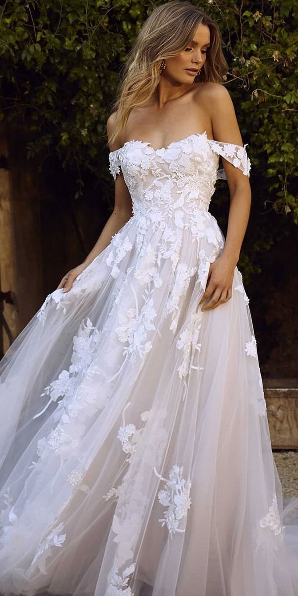 fashion forward wedding dresses a line off the shoulder floral lace blush madi lane
