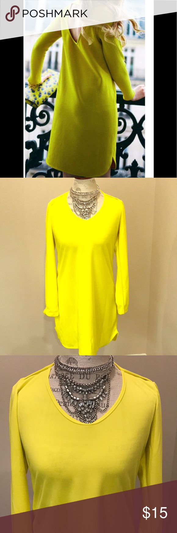 Follow my ❤️ Hollow Mini Dress 👡 A great dress for date night or ladies night! Bright yellow, keyhole/heart cut out in back, long sleeves, light material. Transition to fall with thigh high black boots, a bold clutch and a statement necklace. Purchased at an online boutique and unfortunately I don't have the body type to fit this dress. Never worn. No tags. Dresses Mini