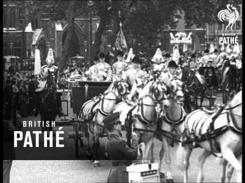 Item title reads - President of Chile pays State visit. London. L/S of Queen Elizabeth II and Prince Philip, Duke of Edinburgh, with the Duke and Duchess of ...