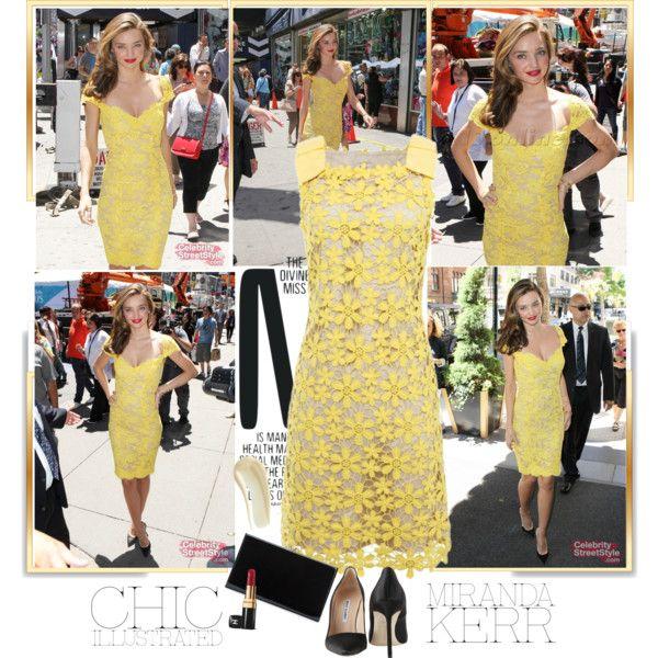 Miranda Kerr - chic in a yellow lace dress